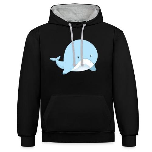 Whale - Felpa con cappuccio bicromatica
