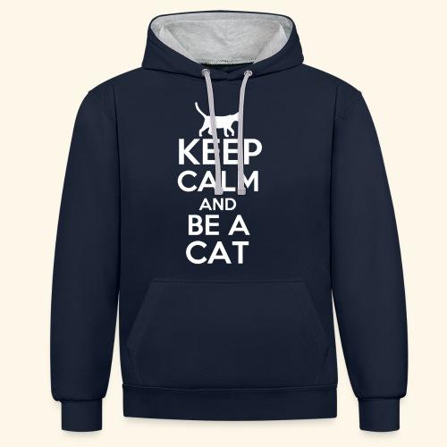 Keep Calm Katzen T-Shirt Englisch - Kontrast-Hoodie