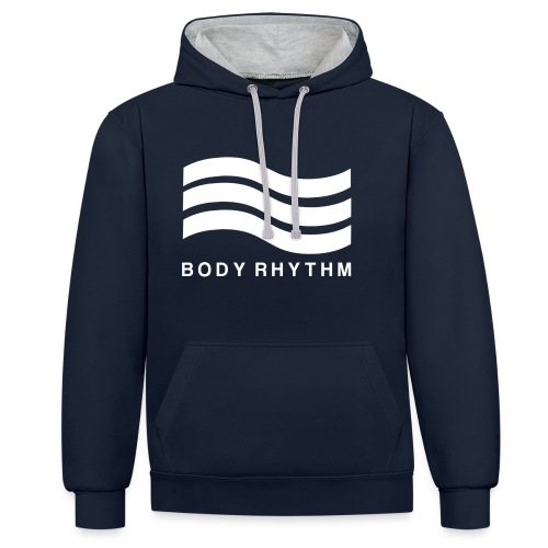 Body Rhythm Official Logo White - Contrast Colour Hoodie