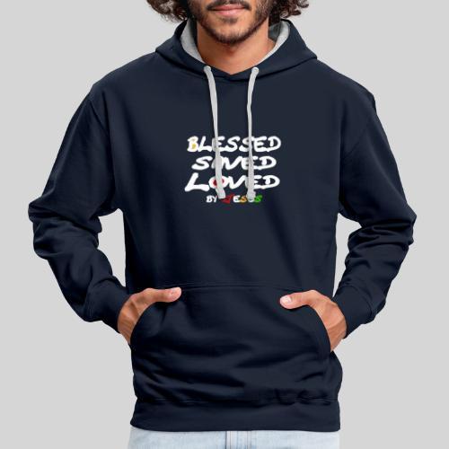 Blessed Saved Loved by Jesus - Kontrast-Hoodie