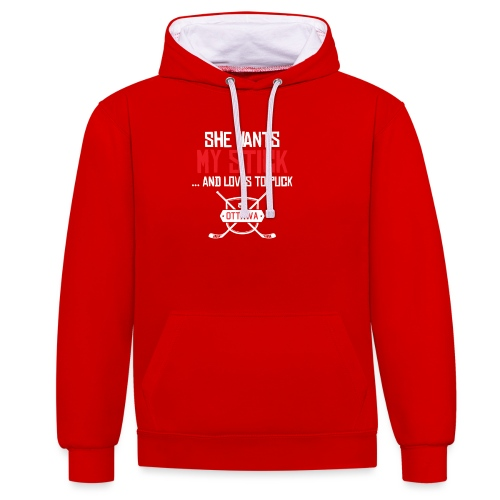 She wants my stick - Kontrast-Hoodie