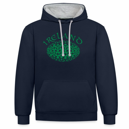 Ireland Rugby Ball - Contrast Colour Hoodie