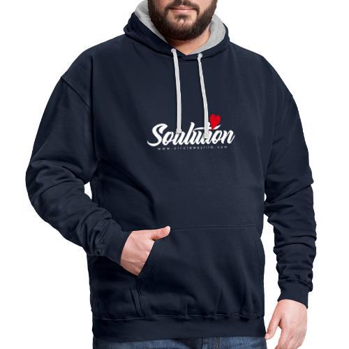 Soulution Logo – weiß - Kontrast-Hoodie