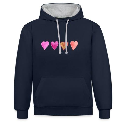 Herzen - Kontrast-Hoodie