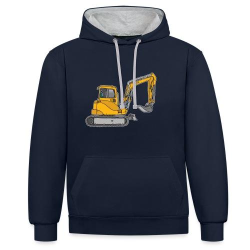 BAGGER, gelbe Baumaschine mit Schaufel und Ketten - Kontrast-Hoodie