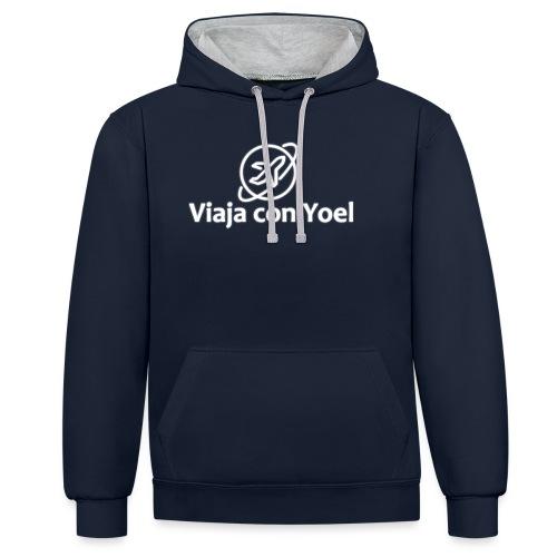 Viaja con Yoel White Logo - Sudadera con capucha en contraste