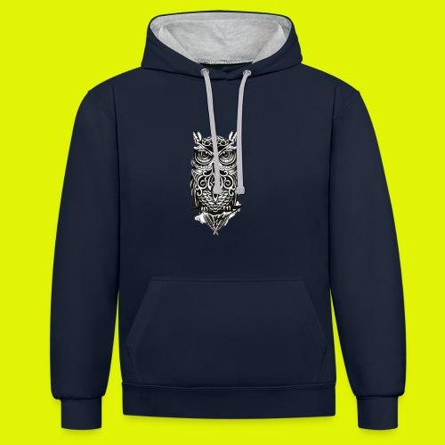 maglietta gufo - Felpa con cappuccio bicromatica