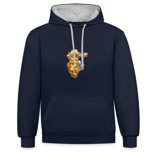Goldene Gangster Kuh / Gold Thug Cow - Kontrast-Hoodie