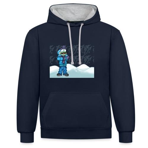 Freezing Turtle Snowboarder/Frierender Snowboarder - Kontrast-Hoodie