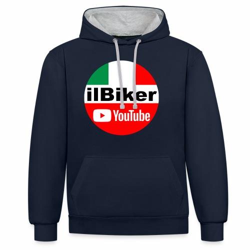 ilBiker - Logo tondo - Felpa con cappuccio bicromatica