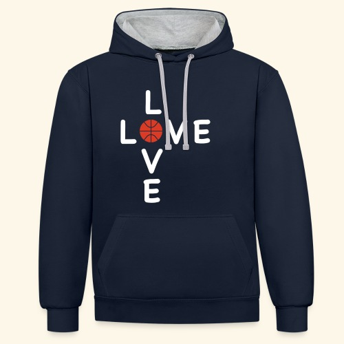 LOVE Cross basketball red 001 - Kontrast-Hoodie