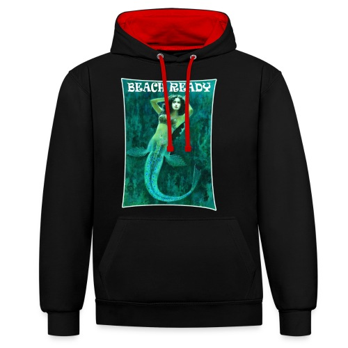 Vintage Pin-up Beach Ready Mermaid - Contrast Colour Hoodie