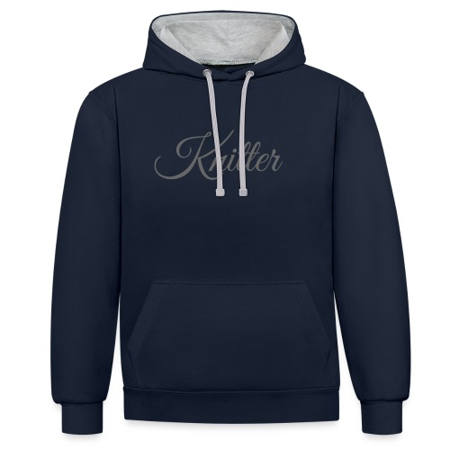 Knitter, dark gray - Contrast Colour Hoodie
