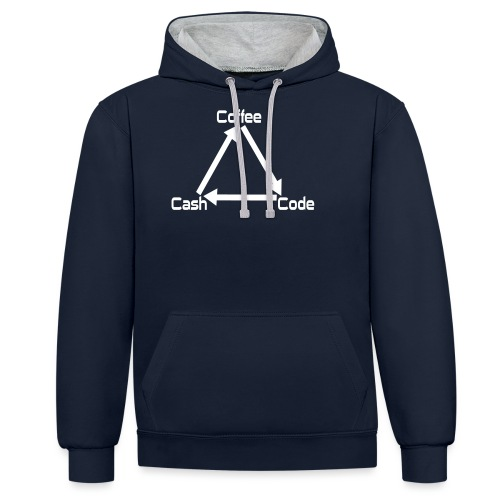 Coffee Code Cash Softwareentwickler Programmierer - Kontrast-Hoodie