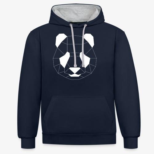 Panda Geometrisch weiss - Kontrast-Hoodie