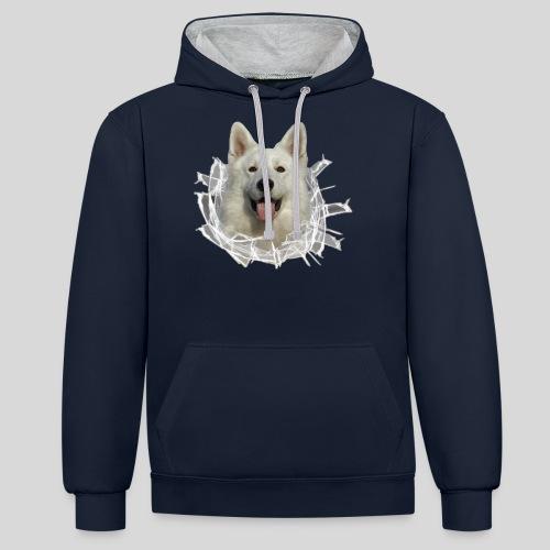 Schäferhund Weiss im *Glas-Loch* - Kontrast-Hoodie