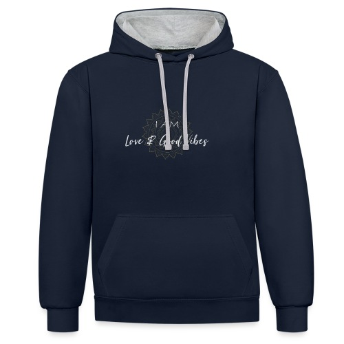 I am love and good vibes white gold - Kontrast-Hoodie