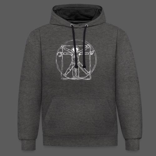 Vitruvian Gamer White Print - Kontrast-Hoodie