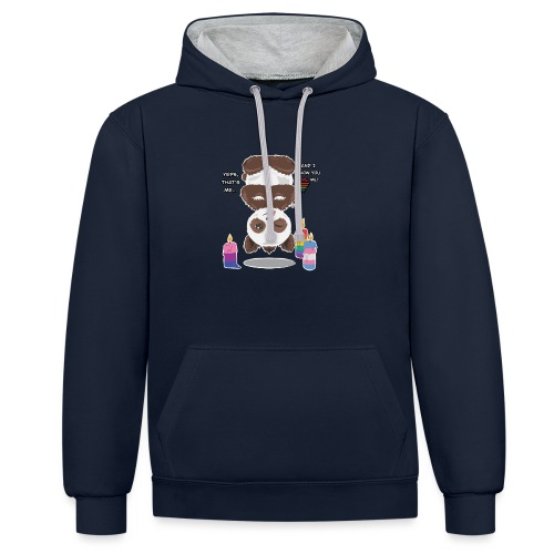 Panda Love - Kontrast-hættetrøje