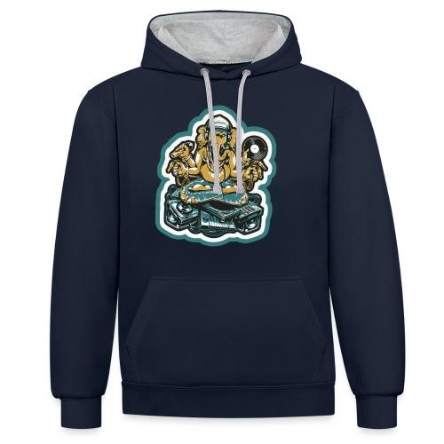 Elefant Ganesha Logo - Kontrast-hættetrøje
