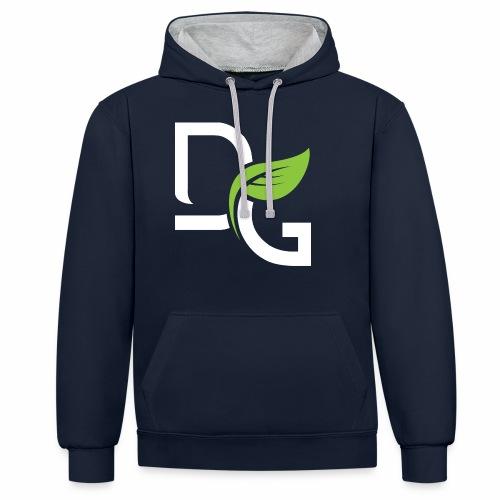 DrGreen Logo Symbol weiss grün - Kontrast-Hoodie