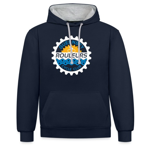 Guernsey Rouleurs Logo Reversed - Contrast Colour Hoodie
