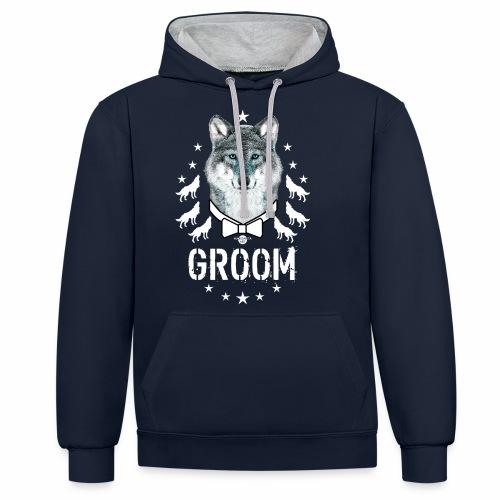 161 Wolf JGA GROOM Wolfpack Sterne - Kontrast-Hoodie