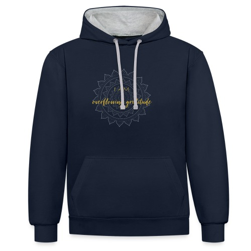 I am overflowing gratitude gold white mandala - Kontrast-Hoodie