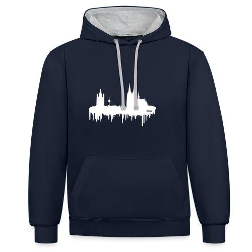 Skyline Köln - Weiß - Kontrast-Hoodie