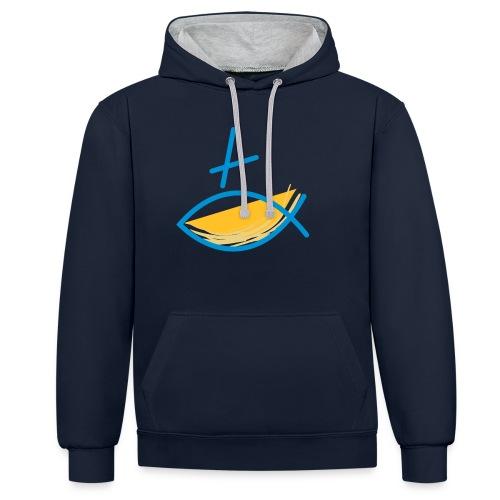 Altkatholischer Logo Fisch Blau/Gelb - Kontrast-Hoodie