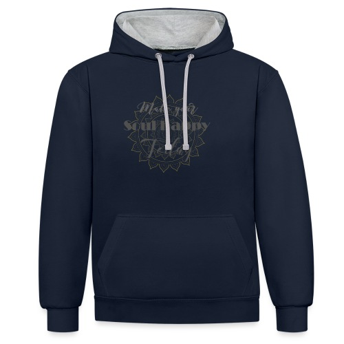 Make your soul happy today - grey mandala - Kontrast-Hoodie
