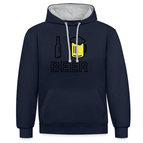 I Love Beer (2-farbig) - Kontrast-Hoodie