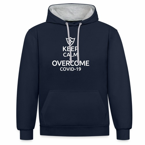Keep calm and overcome - Bluza z kapturem z kontrastowymi elementami
