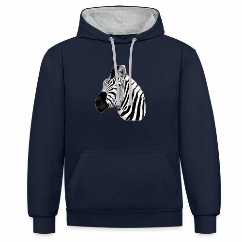 Cooles Zebra - Kontrast-Hoodie