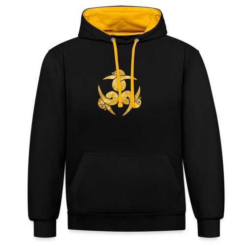 Three Geese Japanese Kamon in gold - Contrast Colour Hoodie
