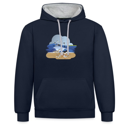 See... birds on the shore - Contrast Colour Hoodie