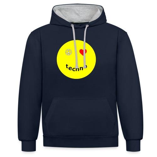 camiseta paz amor techno - Sudadera con capucha en contraste
