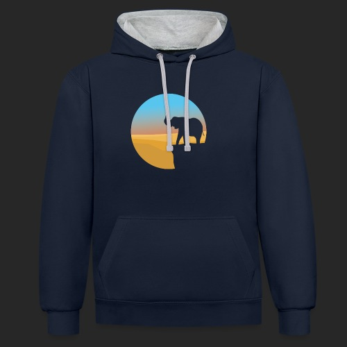 Sunset Elephant - Contrast Colour Hoodie