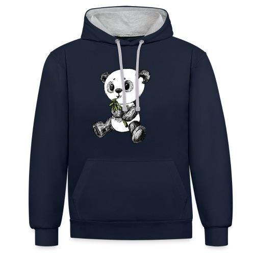 Panda bjørn farvet scribblesirii - Kontrast-hættetrøje