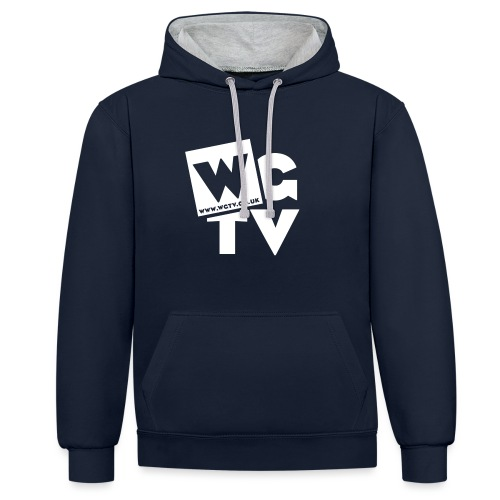 Logo_White_Large - Contrast Colour Hoodie
