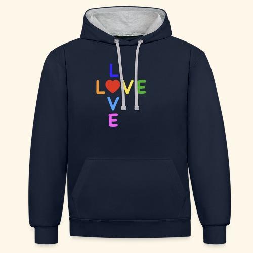 Rainbow Love. Regenbogen Liebe - Kontrast-Hoodie