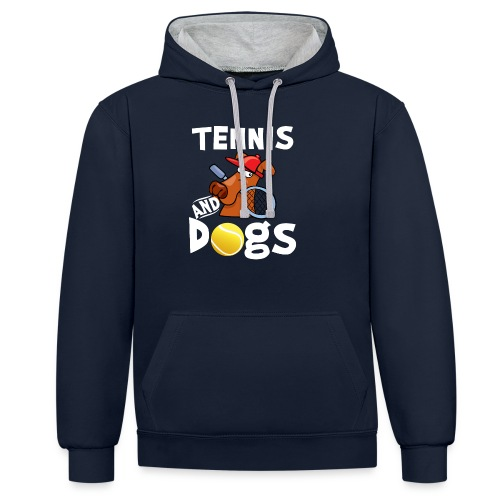 Tennis And Dogs Funny Sports Pets Animals Love - Kontrast-Hoodie