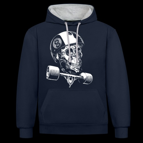 Skull Longboard Rider - negative print - Sweat-shirt contraste