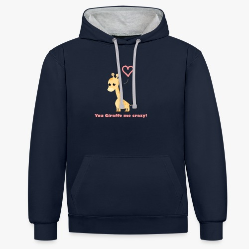 Giraffe Me Crazy - Kontrast-hættetrøje