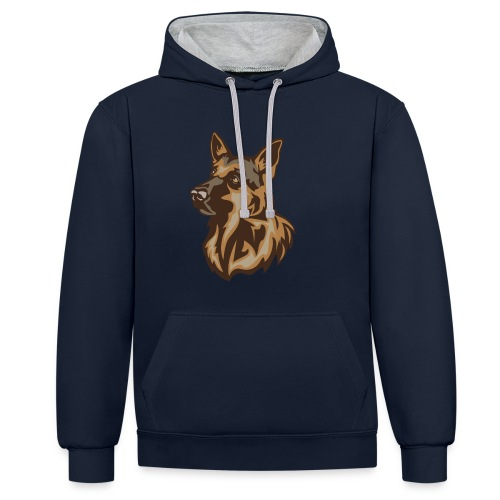 Schäferhund - Kontrast-Hoodie
