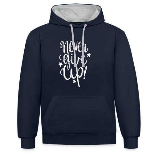 Never Give Up - Felpa con cappuccio bicromatica