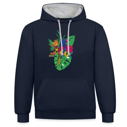 gaya flower parrot - Kontrast-Hoodie