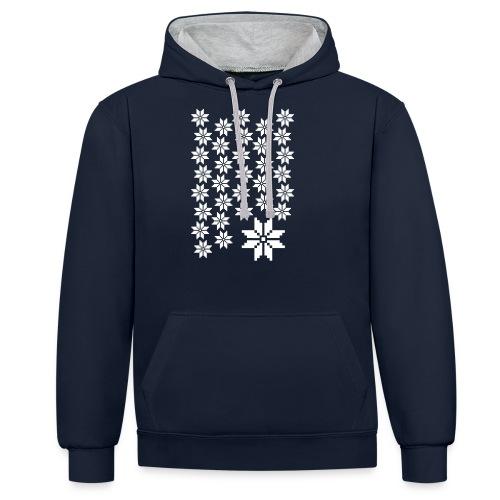 33 Schneeflocken Norweger Muster - Kontrast-Hoodie