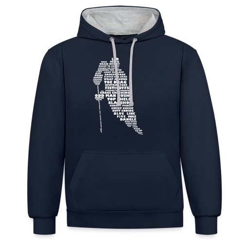 Language of Hockey (White) - Contrast Colour Hoodie