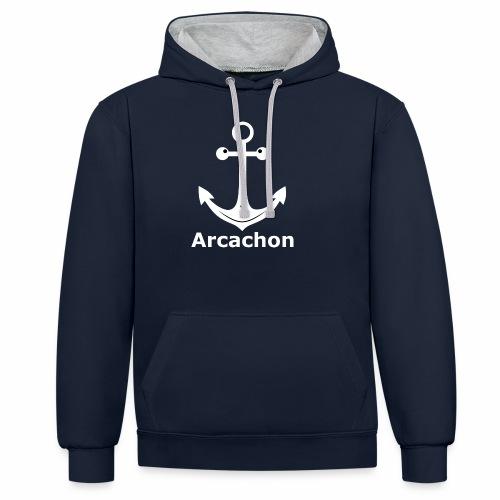 Arcachon Ancre Blanc - Contrast Colour Hoodie